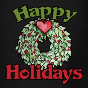 Happy Holidays heart wreath  - Men's T-Shirt