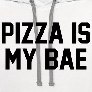 PIZZA IS MY BAE T-Shirts - Contrast Hoodie