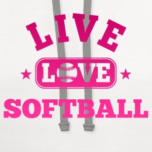 Live Love Softball Women's T-Shirts - Contrast Hoodie