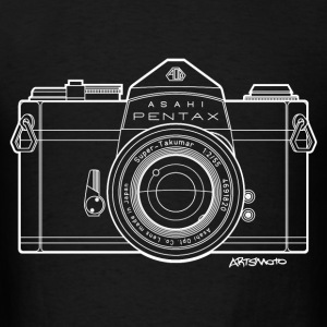 Asahi Pentax 35mm Vintage Camera Line Art (White) Hoodies - Men's T-Shirt