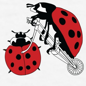 Ladybug Riding Bike With Ladybug Wheel Mugs & Drinkware - Men's T-Shirt