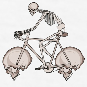 Skeleton Riding Bike With Skull Wheels Mugs & Drinkware - Men's T-Shirt