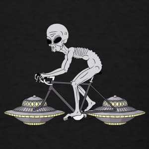 Grey Alien Riding Bike With UFO Wheels Baby Bodysuits - Men's T-Shirt