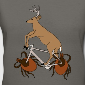 Deer Riding Bike With Deer Tick Wheels Tanks - Women's V-Neck T-Shirt