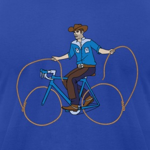 Cowboy Riding Bike With Lasso Wheels Hoodies - Men's T-Shirt by American Apparel