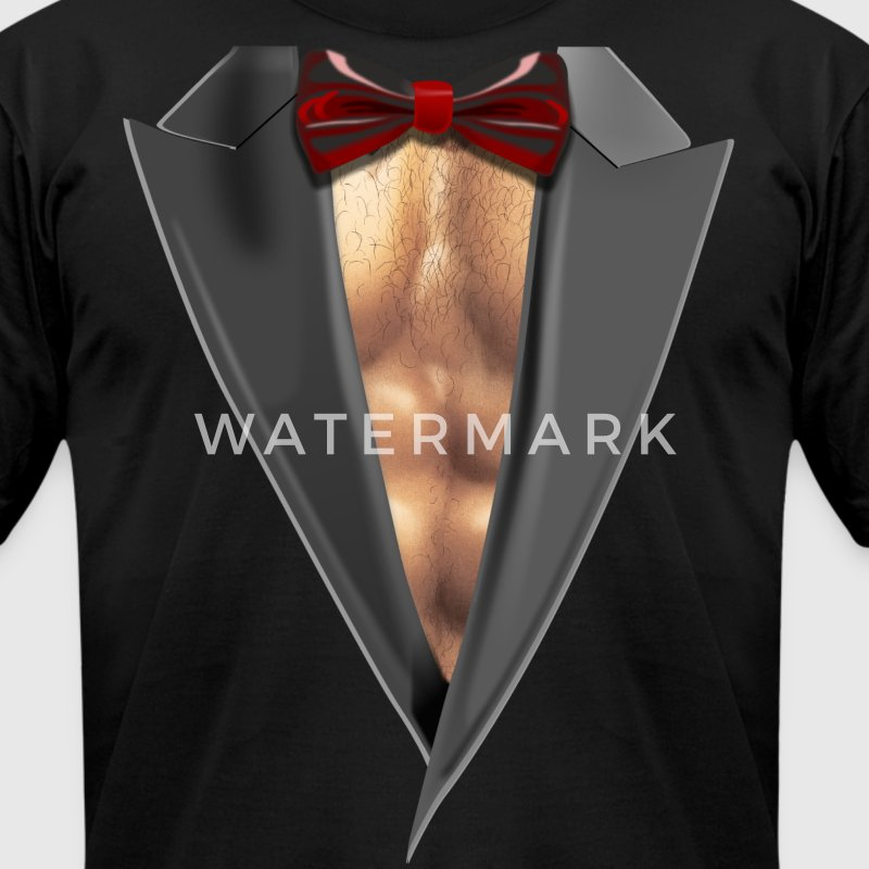 Tuxedo Brust Sixpack gym T-Shirts - Men's T-Shirt by American Apparel