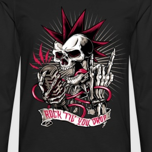 Skull rock hard heavy metal halloween biker  T-Shirts - Men's Premium Long Sleeve T-Shirt