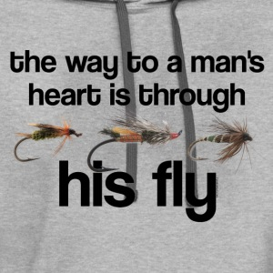 Fly Fish Man's Heart T-Shirts - Contrast Hoodie