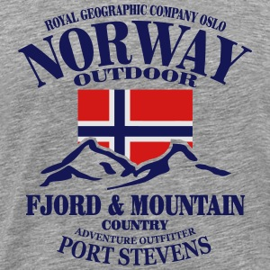 Fjord & Mountain - Norway Flag Hoodies - Men's Premium T-Shirt