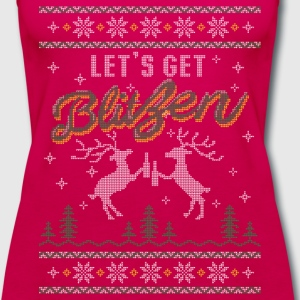 UGLY HOLIDAY SWEATER LET'S GET BLITZEN T-Shirts - Women's Premium Tank Top