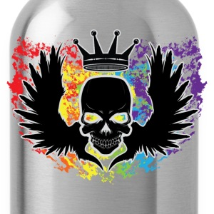 Skull With Wings & Crown Rainbow T-Shirts - Water Bottle