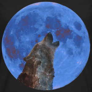 Galaxy Wolf and blue moon T-Shirts - Men's Premium Long Sleeve T-Shirt