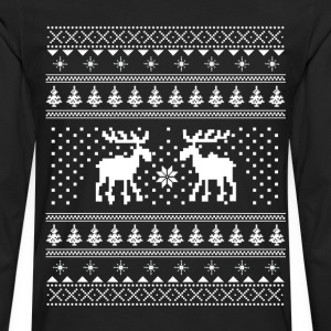Moose Pattern Christmas Sweater T-Shirts - Men's Premium Long Sleeve T-Shirt