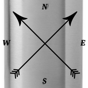 Compass Print, North, East, South, West Hoodies - Water Bottle