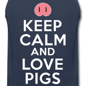 Keep Calm And Love Pigs T-Shirts - Men's Premium Tank