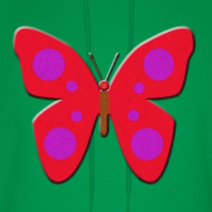 Red and Purple Spotted Butterfly Art Kids' Shirts - Men's Hoodie