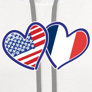 USA France Heart Flags - Contrast Hoodie