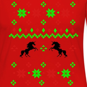 Ugly Christmas Sweater Unicorn T-Shirts - Women's Premium Long Sleeve T-Shirt