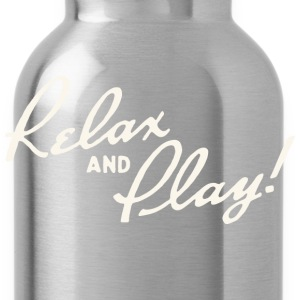 Relax and Play! Black T-Shirt by Verbeeish - Water Bottle