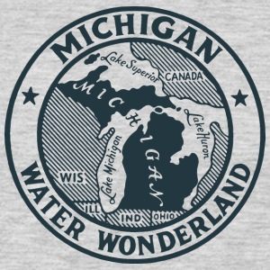 Michigan Water Wonderland Ash T-Shirt by Verbeeish - Men's Premium Long Sleeve T-Shirt