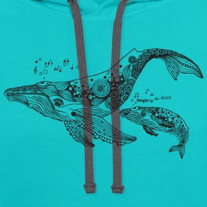 South Seas Women's Singing Whales T shirt - Contrast Hoodie
