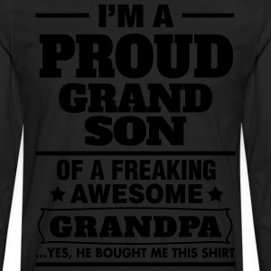 Proud Grandson Of A Freaking Awesome Grandpa T-Shirts - Men's Premium Long Sleeve T-Shirt
