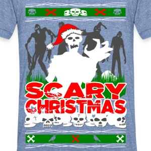 Scary Christmas Zombies Long Sleeve Shirts - Unisex Tri-Blend T-Shirt by American Apparel
