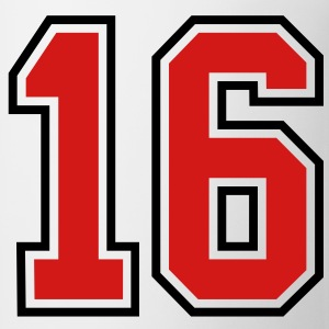 16 sports jersey football number T-SHIRT - Coffee/Tea Mug