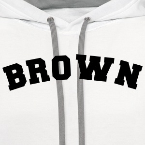 brown sports name surname jersey curved t-shirt - Contrast Hoodie