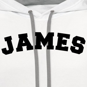 james name surname sports jersey curved t-shirt - Contrast Hoodie