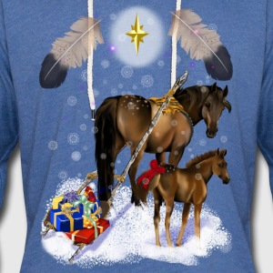 Christmas Mare and Colt - Unisex Lightweight Terry Hoodie