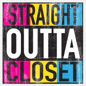 Straight Outta Closet Pansexual LGBT Pride Grunge Mugs & Drinkware - Men's Premium T-Shirt