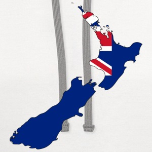 New Zealand Flag Map.png T-Shirts - Contrast Hoodie