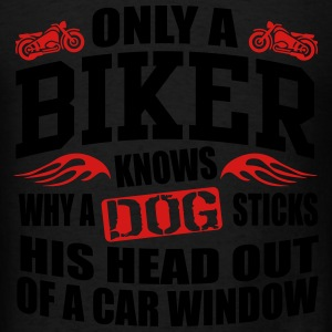 Biker knows why dog sticks head out of window Tanks - Men's T-Shirt
