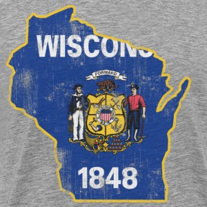 Wisconsin State Flag Outline Hoodies - Men's Premium T-Shirt