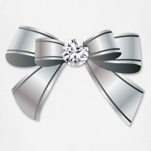 Silver Bow With The Diamond - Adjustable Apron
