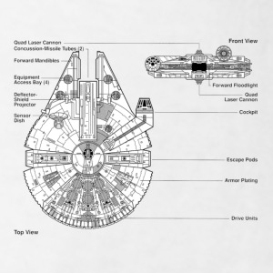 Millenium Falcon diagram - Men's T-Shirt
