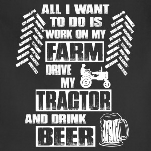 farmer tractor and beer - Adjustable Apron