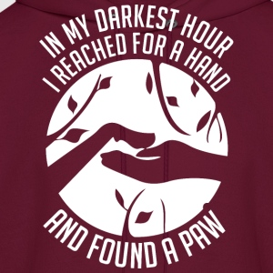 Pet Cat Dog In My Darkest Hour Reached For Hand  - Men's Hoodie