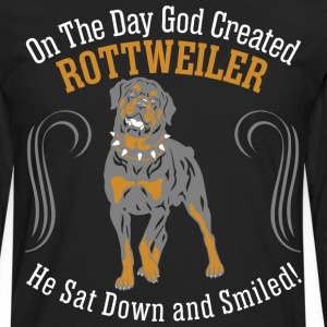 God Created Rottweiler Dog Sat Down Smiled - Men's Premium Long Sleeve T-Shirt