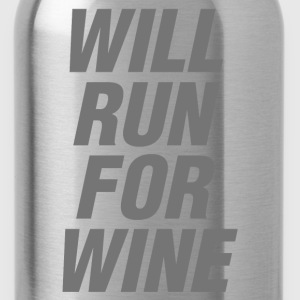Will Run For Wine funny gym tanks, - Water Bottle
