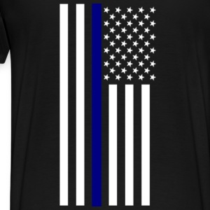 Thin Blue Line Zip Hoodie - Men's Premium T-Shirt