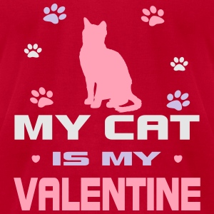 My Cat Is My Valentine Long Sleeve Shirts - Men's T-Shirt by American Apparel