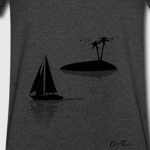 sailing-island-blk Long Sleeve Shirts - Men's V-Neck T-Shirt by Canvas