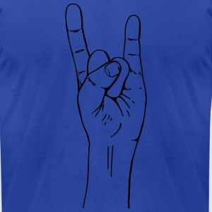 rock hand gesture Polo Shirts - Men's T-Shirt by American Apparel