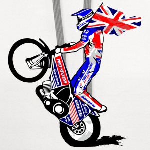 Speedway driver with UK flag T-Shirts - Contrast Hoodie