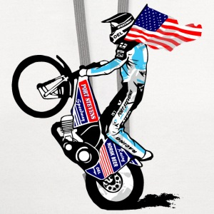 Speedway driver with USA flag Women's T-Shirts - Contrast Hoodie