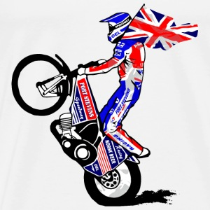Speedway driver with UK flag Long Sleeve Shirts - Men's Premium T-Shirt