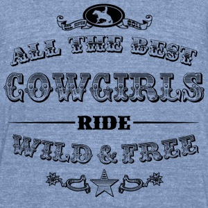 Cowgirls black Long Sleeve Shirts - Unisex Tri-Blend T-Shirt by American Apparel