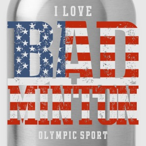 I Love Badminton USA T-Shirts - Water Bottle